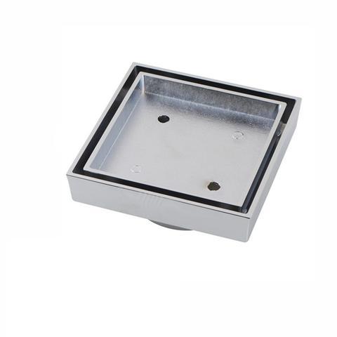 115x115 Mm Smart Tile Insert Floor Waste Shower Brass Grate Drain Electroplated Black 1 item