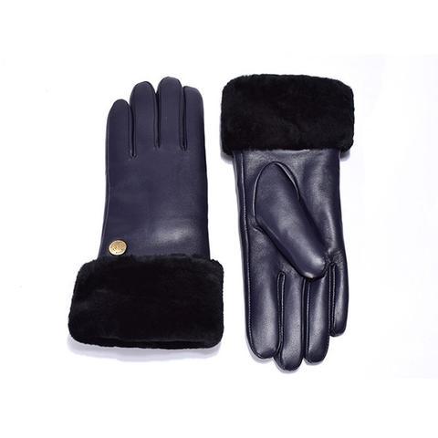 Ugg Australian Sheepskin Leather Gloves Navy Womens Chloe Medium
