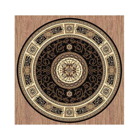 Palace Black Round Stain Resistant Rug 160 x 160 cm
