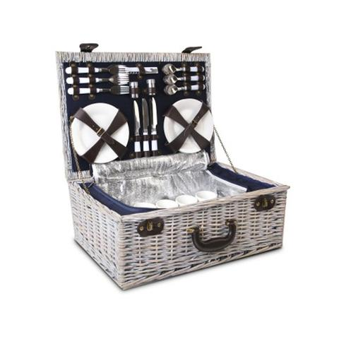 6 Person Picnic Basket Cooler Bag Wicker Pu Fastening Straps Plates 1 item