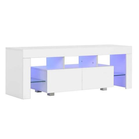 Tv Cabinet With Led Lights High Gloss White 130x35x45cm 1 item