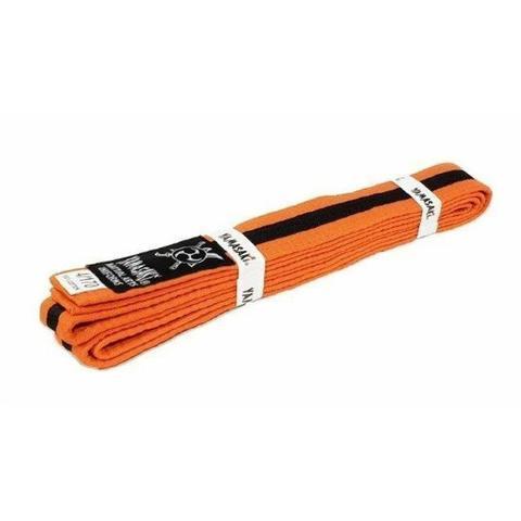 Yamasaki Coloured Martial Arts Belts With Black Stripe Orange Black 1