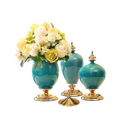 Soga 3x Ceramic Oval Flower Vase With White Flower Set Green 1 item