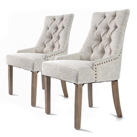 2x French Provincial Oak Leg Chair Amour - Cream 1 item