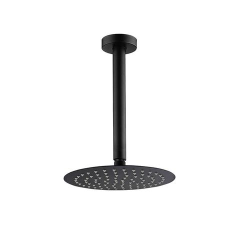 10 Inch Round Black Rainfall Shower Head With Ceiling Shower Arm Set 400 mm 1 item