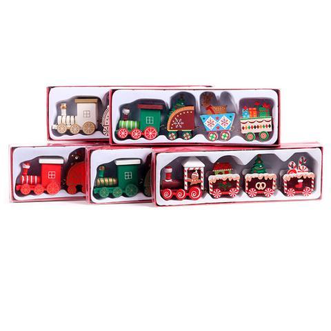 Christmas Decor Mini Four Section Train Diy Wooden Ornaments 1 item
