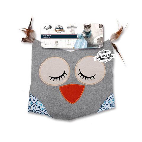 Cat Sack Crinkle Toys Owl Hide Play Bag Teaser Vintage Grey 1 item