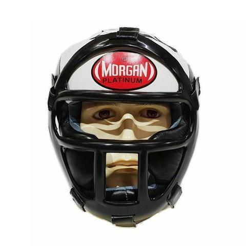 Morgan Leather Head Guard With Abx Plastic Removable Grill XL