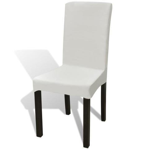 Straight Stretchable Chair Cover (6 Pcs) - Cream 1 item
