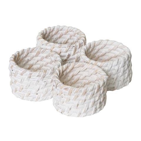 Pacifica Rattan Napkin Ring Set of 4 White Wash 1 item