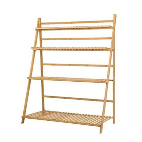Bamboo Wooden Ladder Shelf Plant Stand Foldable 1 item