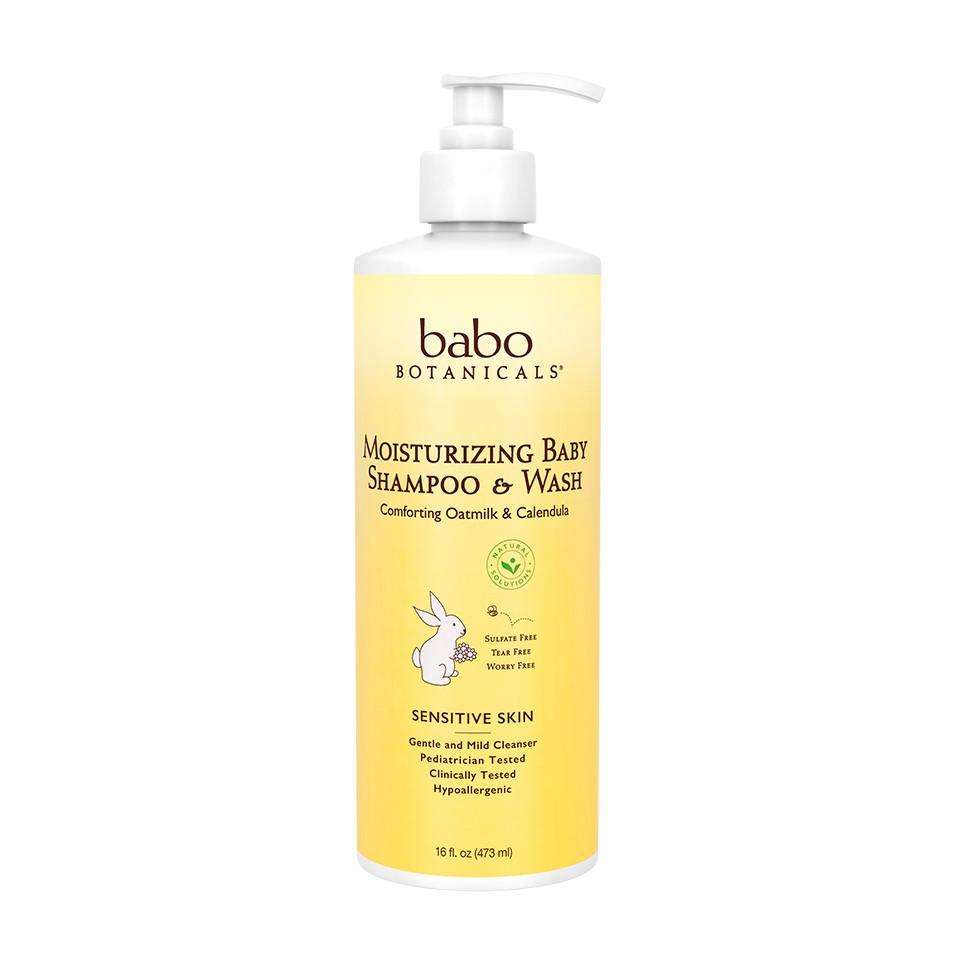 Babo Botanicals Baby Shampoo and Wash  Moisturizing  Oatmilk  16 Oz