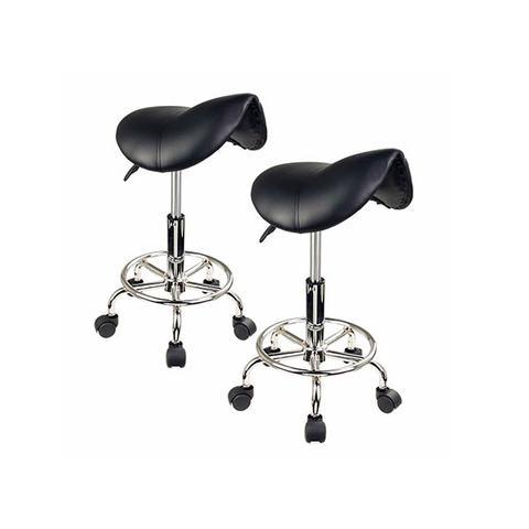 2 Pcs Black Saddle Salon Stool 1 item
