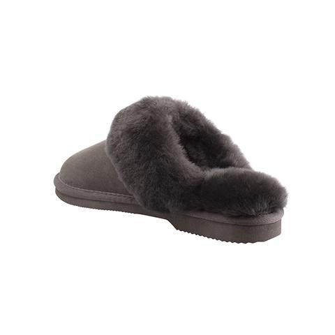 Comfort Me Chocolate Fur Trim Sheepskin Scuffs 6m/7w