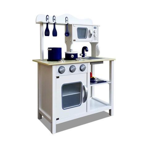 18 Piece Kitchen Play Set – White & Blue 1 item