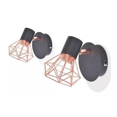 Wall Lamp 2 Pcs E14 Black And Copper 1 item
