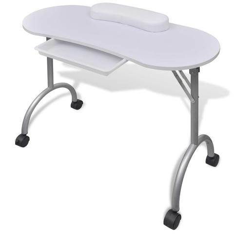 Folding Manicure Table With Castors - White 1 item