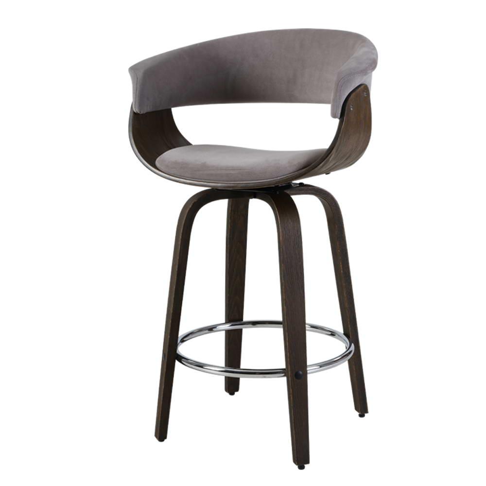 Artiss Bar Stool Wooden Swivel Bar Stool Kitchen Dining Chair Wood Grey