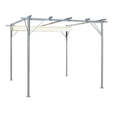 Pergola With Retractable Roof Cream White 3x3 M Steel 1 item