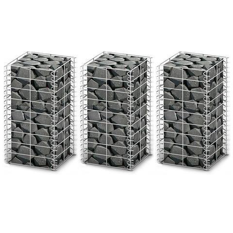 Galvanized Wire Gabion Wall Set 25 X 25 X 50 Cm (3 Pcs) 1 item