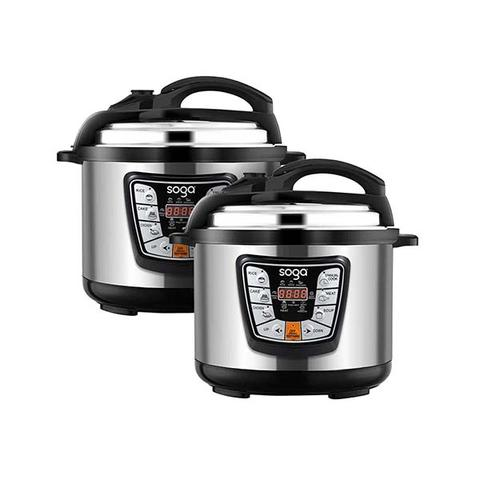 Soga 2x Stainless Steel Electric Pressure Cooker 12l Nonstick 1600w 1 item