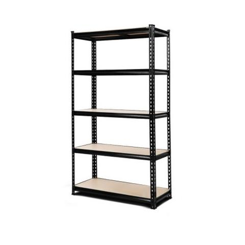 5 Shelves Steel Warehouse Shelving Racking Garage Storage Rack Black 1 item