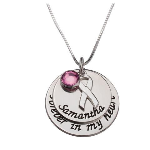 Pink Swarovski Breast Cancer Necklace With Engraved Name 1 item