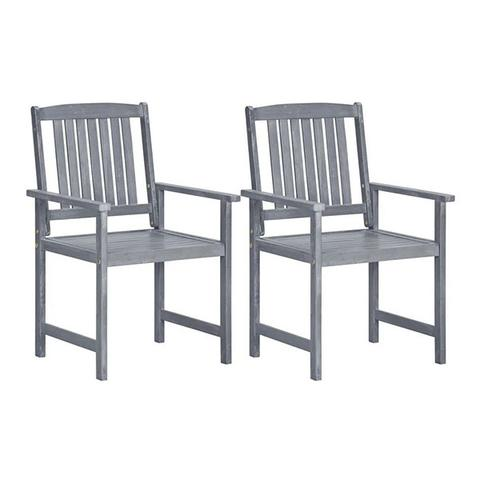 Garden Chairs 2 Pcs Grey Solid Acacia Wood 1 item