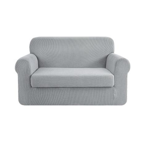 2 Piece Sofa Cover Elastic Stretch Couch Covers Protector Grey 2-seater