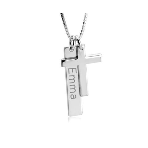 Engraved Bar Necklace With Cross 1 item