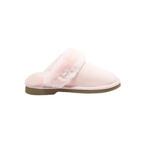 Comfort Me Pink Fur Trim Sheepskin Scuffs 4m/5w