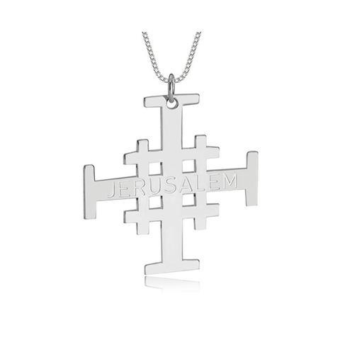 Engraved Jerusalem Cross Necklace 1 item