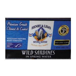 Henry & Lisa's Wild Sardines in Spring Water (12x4.25 Oz)