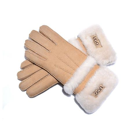 Ugg Sheepskin Leather Double Cuff Gloves Chestnut Womens Cora Large