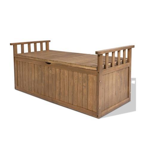Outdoor Storage Box Wooden Garden Bench 128 Cm Chest Tool Toy Sheds Xl 1 item