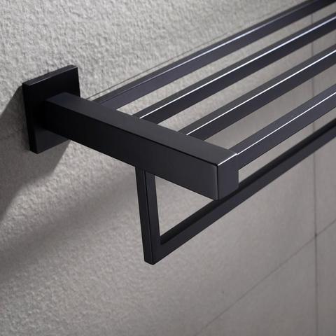 600mm Black Towel Shelf Double Bar Rack Rail Holder Wall Mount Ss304 1 item