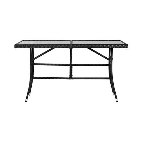 Garden Table Black 140 X 80 X 74 Cm Poly Rattan 1 item