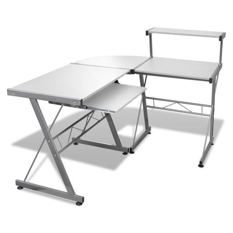 Computer Desk Workstation With Pull Out Keyboard Tray - White 1 item