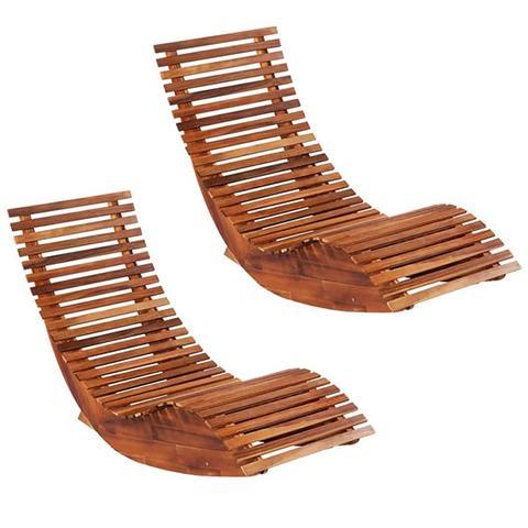 Acacia Wood Rocking Sun Loungers 2 Pieces 1 item