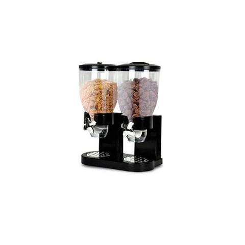 Double Cereal Dispenser Dry Food Storage Container Black 1 item