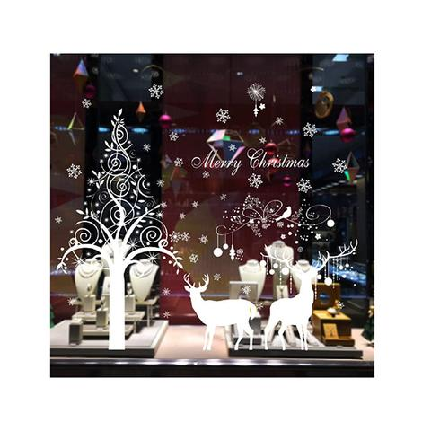 Large Snowflake Elk Christmas Day Wall Stickers 1 item