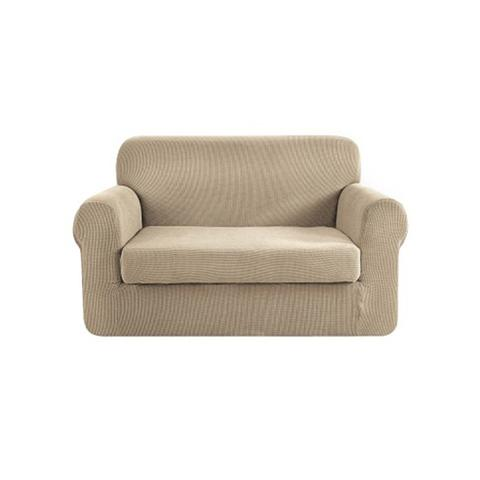 2 Piece Sofa Cover Elastic Stretch Couch Covers Protector Sand 2-seater