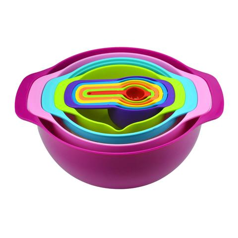 10 Pcs Nesting Rainbow Measuring Cups Mixing Bowls With Handles 1 item