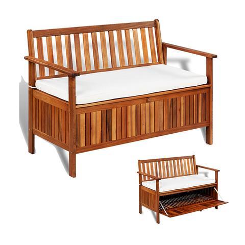 Garden Storage Bench Solid Acacia Wood 120x63x84 Cm 1 item