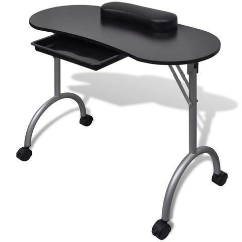 Folding Manicure Nail Table With Castors - Black 1 item