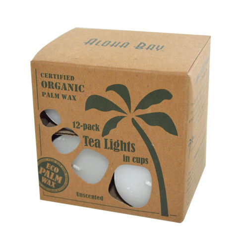 Aloha Bay Palm Wax Tea Lights With Aluminum Holder (12 Candles)