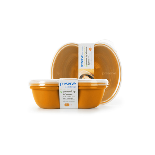 Preserve Small Square Food Storage Container Orange (2 Pack)