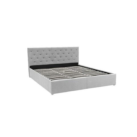 King Fabric Gas Lift Bed Frame With Headboard Grey 1 item