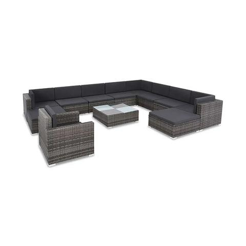 12 Piece Garden Lounge Set With Cushions Poly Rattan Grey 1 item