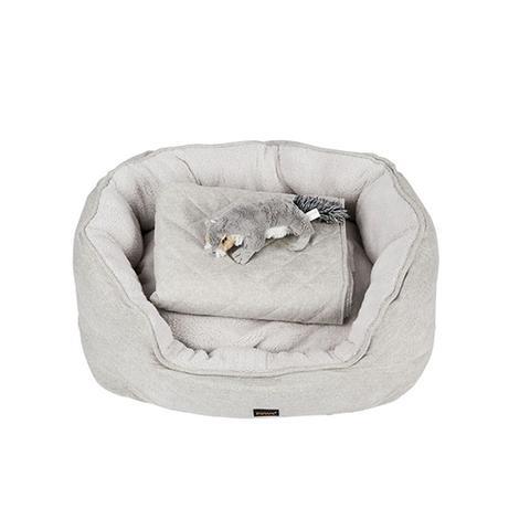 Pet Bed Set Dog Cat Quilted Blanket Medium Grey 1 item